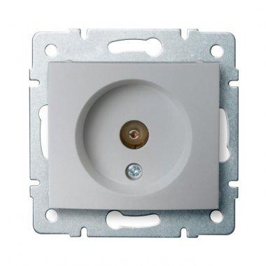 Anténní zásuvka typu F průběžná - stříbrná - DOMO KA 24860