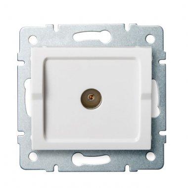 Anténní zásuvka typu F průběžná - bílá - LOGI KA 25097