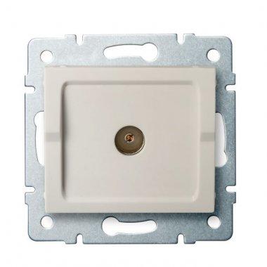Anténní zásuvka typu F koncová - krémová - LOGI KA 25157