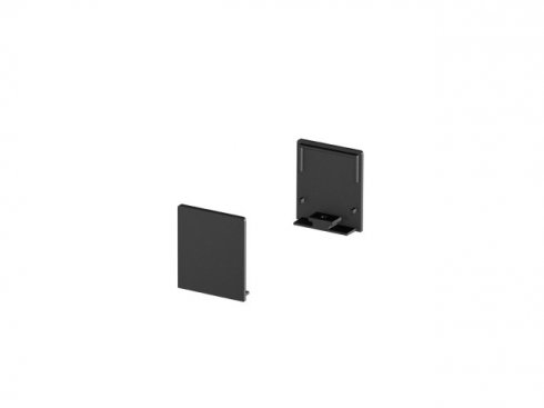 Koncové kryty na GRAZIA 20 profil k montáži na stěnu plochý 2 kusy vysoké provedení černé - BIG WHITE