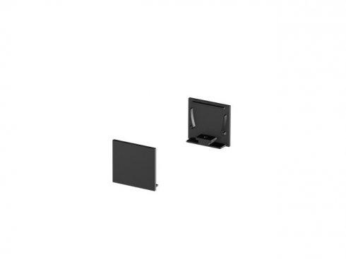 Koncové kryty na GRAZIA 20 profil k montáži na stěnu standard 2 kusy ploché provedení černé - BIG WHITE