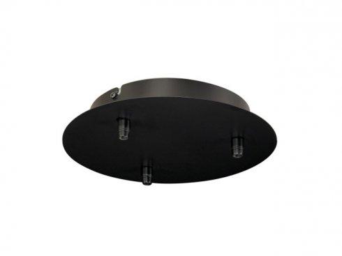 Stropní rozeta, 3 výstupy, kulatá, černá, včetně odlehčovacích profilů LA 132610
