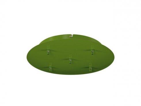 Stropní rozeta, 5 výstupy, kulatá, zelená kapradina, včetně odlehčovacích profilů LA 132628