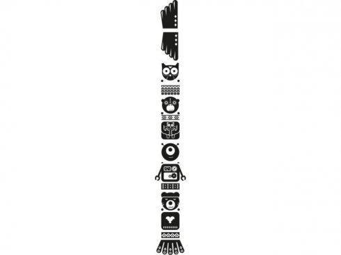 Nálepka Totem sova, černá, vč. stěrky LA 155980