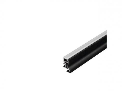 GLENOS profil nožní lišty 200, matný černý, 2 m, poloprůhledný akrylový kryt LA 214010
