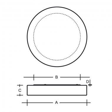Stropní a nástěnné svítidlo LUCIS ZERO IP44 23,4W LED 4000K sklo opál PS13.K14.Z500-1