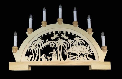 Dřevěný svícen, betlém LED MA31035