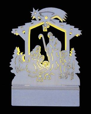 Dřevěná dekorace, betlém LED MA31059