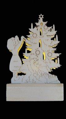 Dřevěná dekorace stromeček LED MA31073