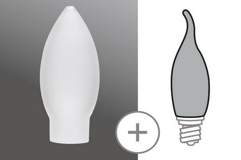 Sklo žárovka svíčka minihalogen satin