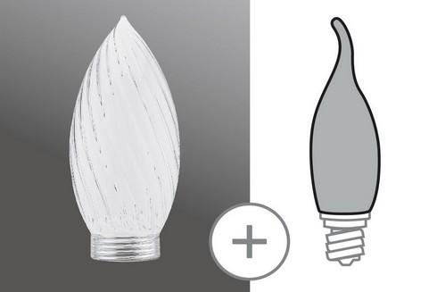 Sklo žárovka svíčka kroucená minihalogen čirá