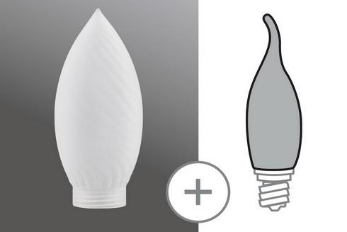 Sklo žárovka svíčka kroucená minihalogen satin