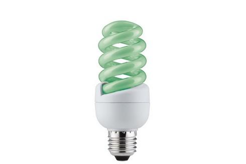 Úsporný světelný zdroj Spirale 15W E27 zelená