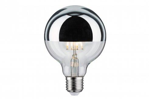 LED Retro žárovka Globe 95 6W E27 zrcadl.vrchlík stříbrný teplá bílá stmívatelné - PAULMANN