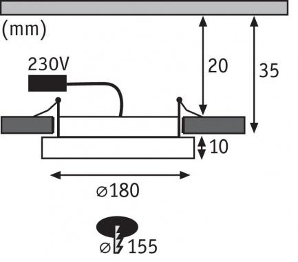 Vestavné bodové svítidlo 230V P 92933-1