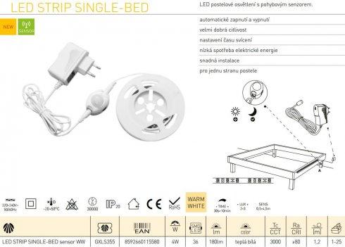 LED pásek GR GXLS355 LED STRIP SINGLE-BED sensor 18W NW SINGLE-BED-3