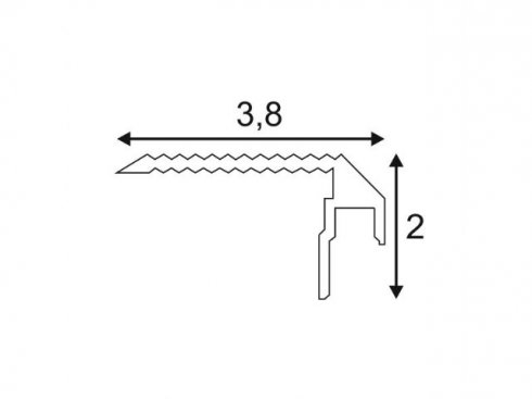 GLENOS stupňový profil schodů DOWN 200, eloxovaný hliník, 2 m LA 213592-2