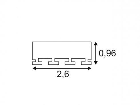 GLENOS Profi profil 2609-200, matný bílý, 2 m SLV LA 213711-1
