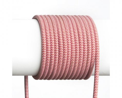 FIT textilní kabel 3X0,75 1bm červená/bílá-4